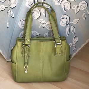 Olive green Fossil pebbled leather purse